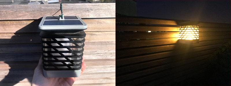 Lanterne solaire effet flamme après 8 mois d'utilisation