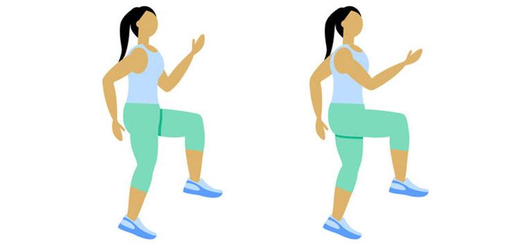 Le levé de genou est un très bon exercice pour perdre du poids en marchant 30 minutes à 1h par jour
